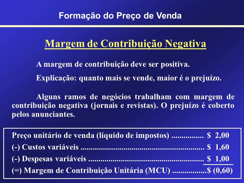 Formação do Preço de Venda Margem de Contribuição É o valor resultante das vendas (líquidas de impostos) deduzidas dos CDVs. MC = MCU x Quantidade pro