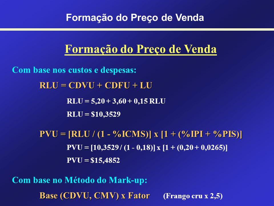 Formação do Preço de Venda Com base nos custos e despesas: RLU = CDVU + CDFU + LU RLU = Receita Líquida Unitária CDVU = Custos e Despesas Variáveis Un