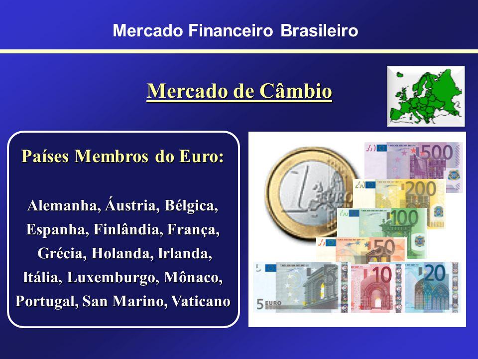 Mercado Financeiro Brasileiro Mercado de Câmbio Moedas Internacionais Dólar (Estados Unidos) Euro (Mercado Comum Europeu) Iene (Japão) Libra Esterlina