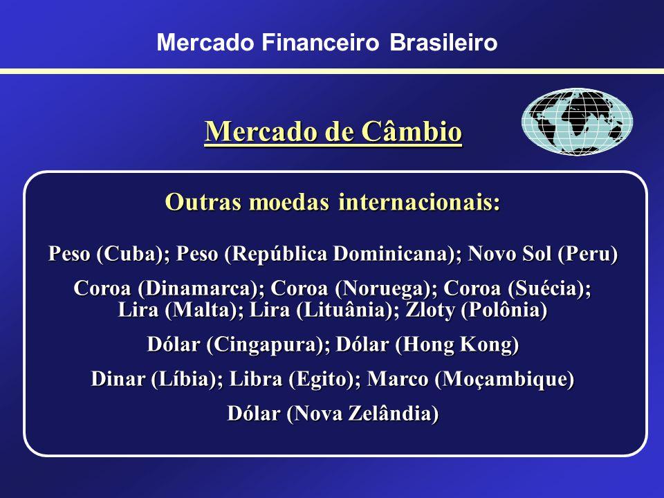 Mercado Financeiro Brasileiro Mercado de Câmbio Países Membros do Euro: Alemanha, Áustria, Bélgica, Espanha, Finlândia, França, Grécia, Holanda, Irlan