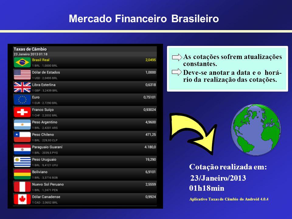 Mercado Financeiro Brasileiro Mercado de Câmbio Outras moedas internacionais: Peso (Cuba); Peso (República Dominicana); Novo Sol (Peru) Coroa (Dinamar