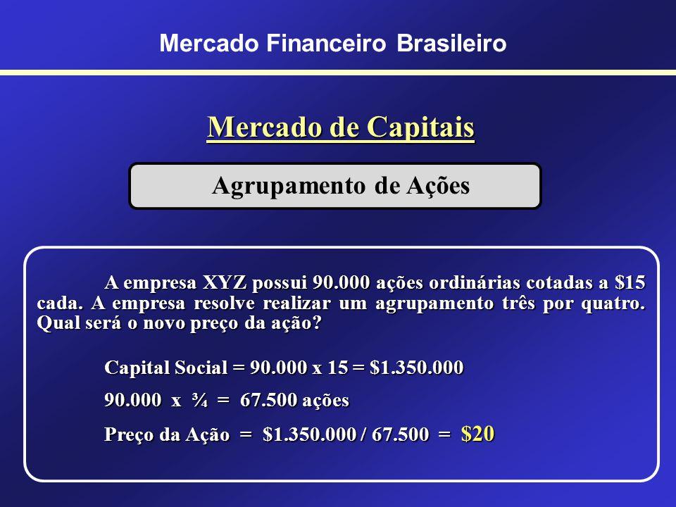 Mercado Financeiro Brasileiro Mercado de Capitais BM&F BOVESPA Supervisionada pela CVM (autoridade monetária) - Tipos de Ações Nominativas: Ordinárias
