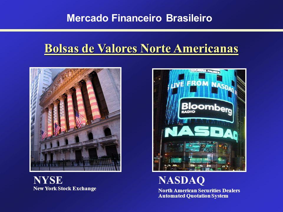 Mercado Financeiro Brasileiro Mercado de Capitais Principais Bolsas de Valores NYSE (USA); AMEX (USA); NASDAQ (USA) NIKKEI (Japão); SHANGHAI (China);