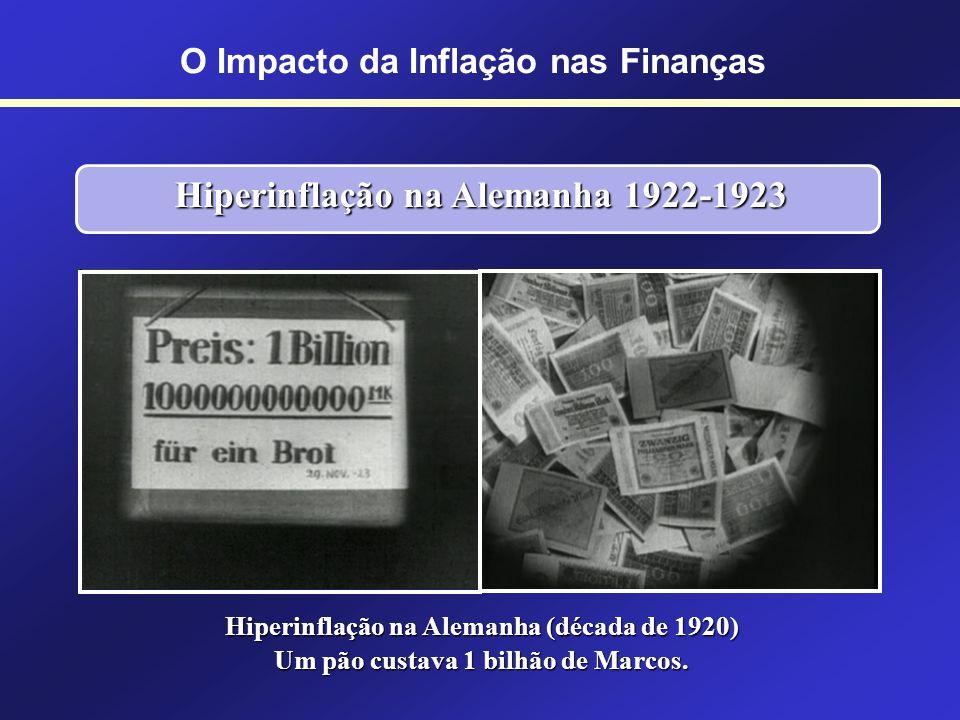 Hiperinflação na Alemanha 1922-1923 Entre agosto de 1922 e novembro de 1923 a taxa de inflação alcançou 1 trilhão por cento. Entre agosto de 1922 e no