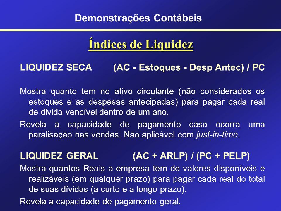 Índices de Liquidez LIQUIDEZ IMEDIATA (Disponível / PC) Mostra quantos R$ a empresa tem no disponível (caixa, bancos e aplicações financeiras disponív