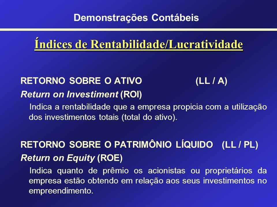 Índices de Endividamento COMPOSIÇÃO DO ENDIVIDAMENTO PC/ (PC+PELP) Indica a proporção das obrigações de curto prazo em relação ao total das obrigações