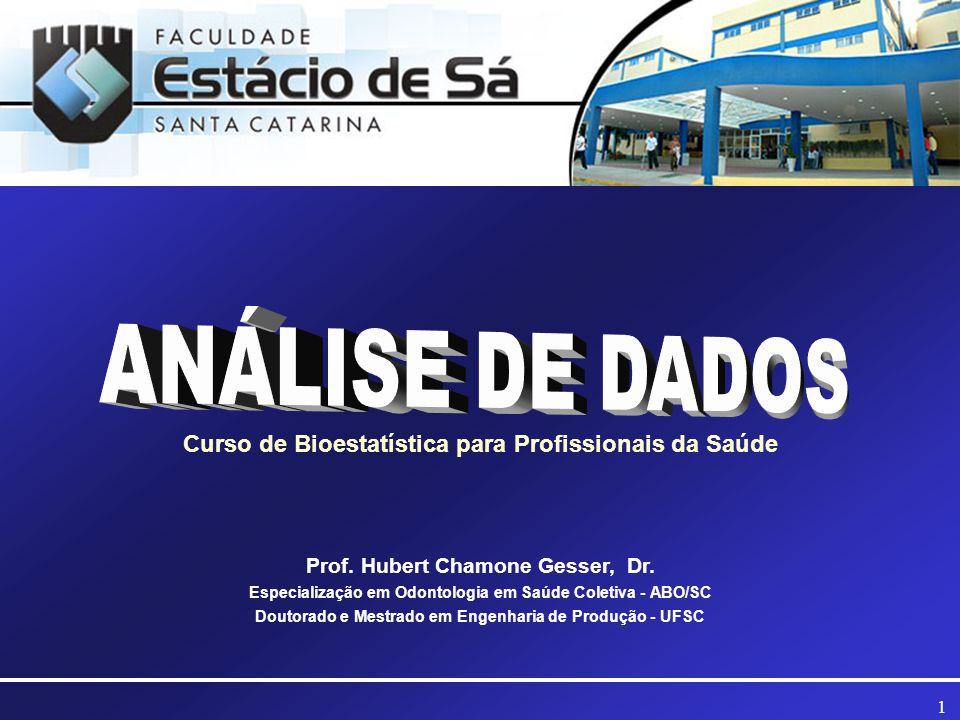 1 Curso de Bioestatística para Profissionais da Saúde Prof. Hubert Chamone Gesser, Dr. Especialização em Odontologia em Saúde Coletiva - ABO/SC Doutor