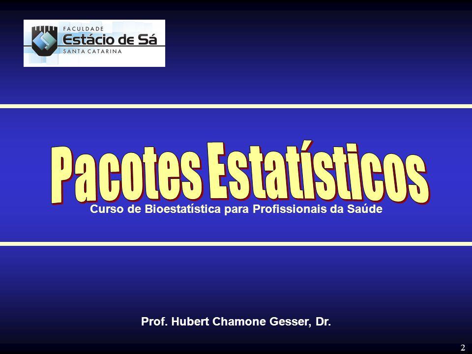2 Prof. Hubert Chamone Gesser, Dr. Curso de Bioestatística para Profissionais da Saúde
