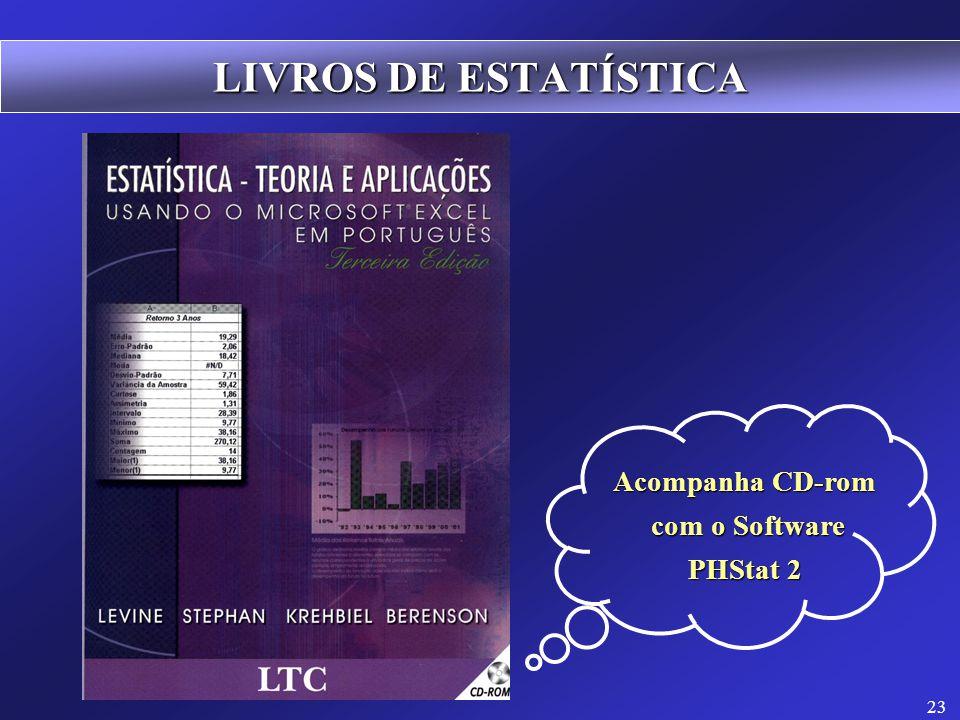 23 LIVROS DE ESTATÍSTICA Acompanha CD-rom com o Software com o Software PHStat 2