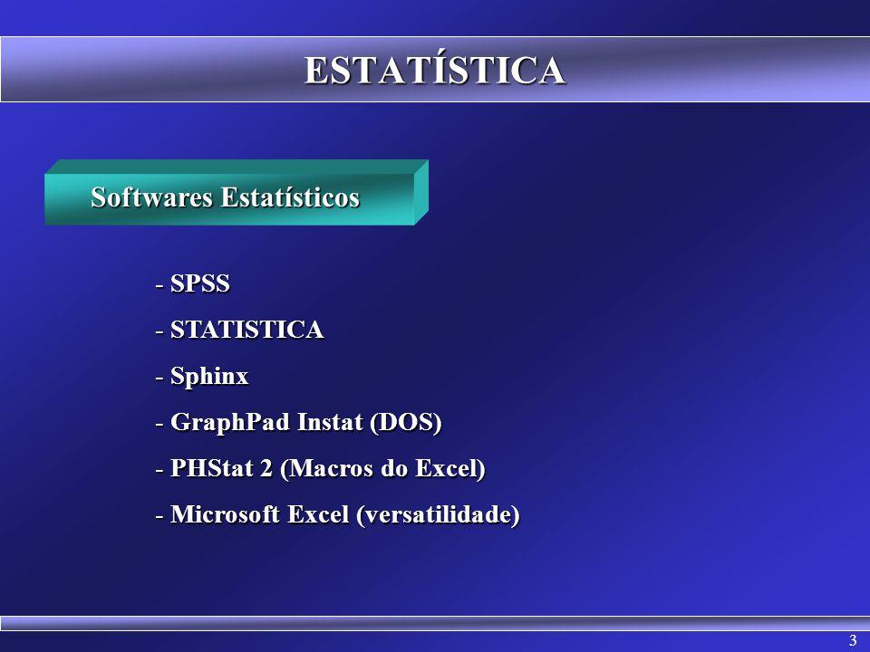 3 ESTATÍSTICA Softwares Estatísticos - SPSS - STATISTICA - Sphinx - GraphPad Instat (DOS) - PHStat 2 (Macros do Excel) - Microsoft Excel (versatilidad