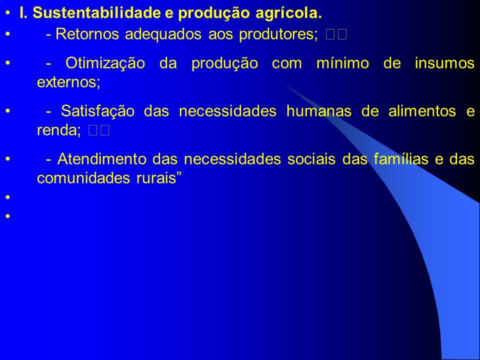 - Retornos adequados aos produtores; - Otimização da produção com mínimo de insumos externos; - Satisfação das necessidades humanas de alimentos e ren
