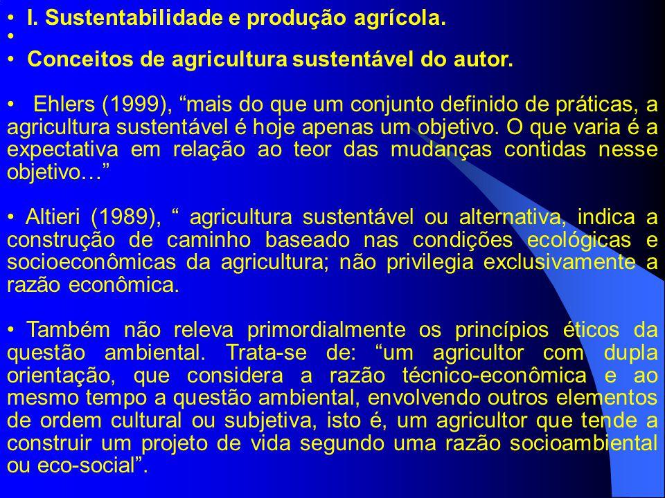 Conceitos de agricultura sustentável do autor. Ehlers (1999), mais do que um conjunto definido de práticas, a agricultura sustentável é hoje apenas um