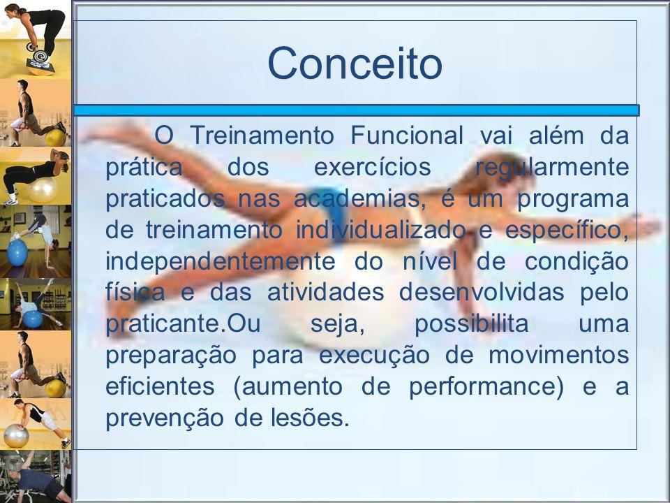 Conceito O Treinamento Funcional vai além da prática dos exercícios regularmente praticados nas academias, é um programa de treinamento individualizad
