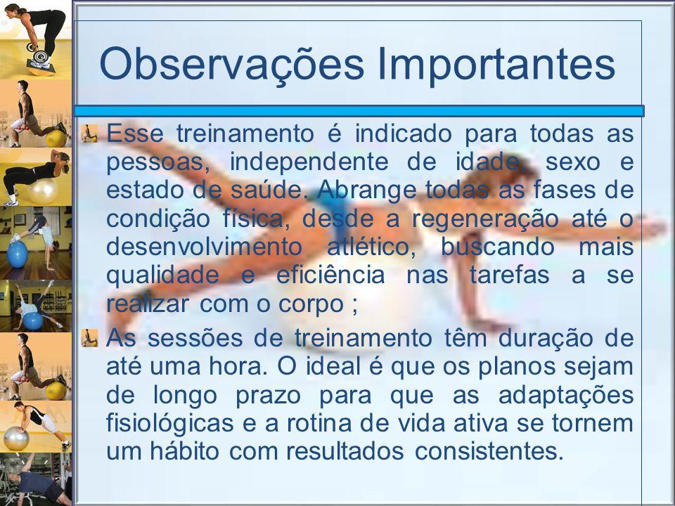 Observações Importantes Esse treinamento é indicado para todas as pessoas, independente de idade, sexo e estado de saúde. Abrange todas as fases de co