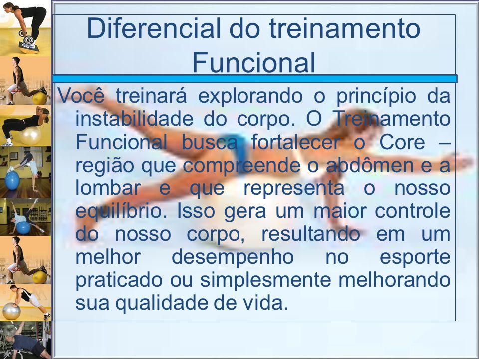 Diferencial do treinamento Funcional Você treinará explorando o princípio da instabilidade do corpo. O Treinamento Funcional busca fortalecer o Core –