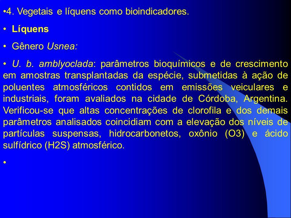 4.Vegetais e líquens como bioindicadores. Líquens Gênero Usnea: U.