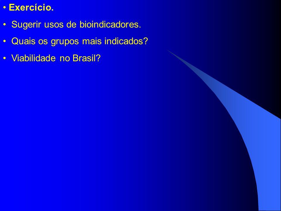 Exercício. Sugerir usos de bioindicadores. Quais os grupos mais indicados? Viabilidade no Brasil?