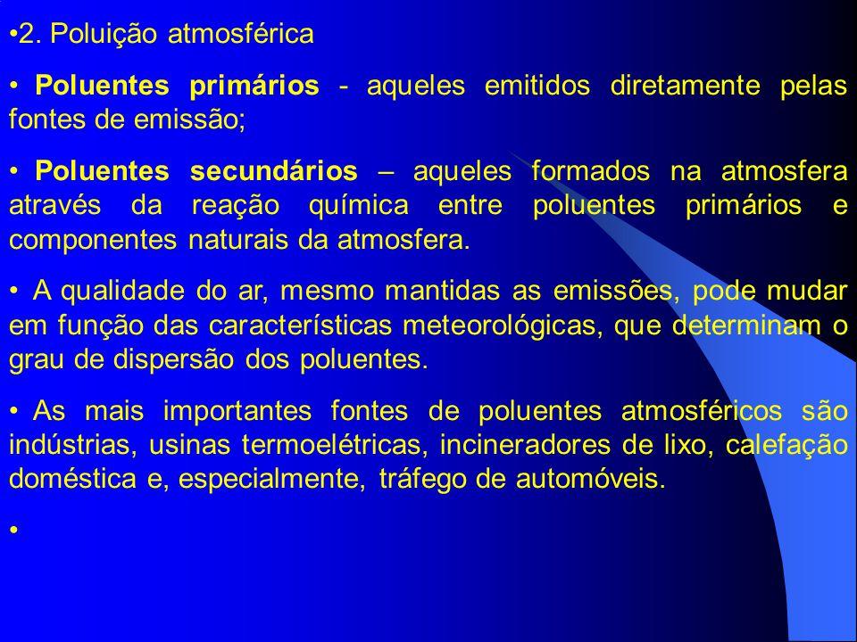 2. Poluição atmosférica Poluentes primários - aqueles emitidos diretamente pelas fontes de emissão; Poluentes secundários – aqueles formados na atmosf