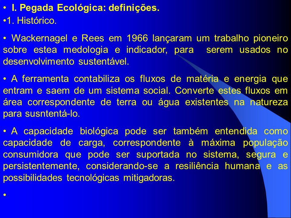 I.Pegada Ecológica: definições. 1. Histórico.