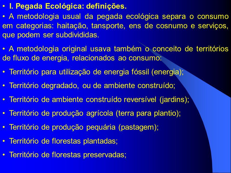 I.Pegada Ecológica: definições. Território de áreas não produtivas.