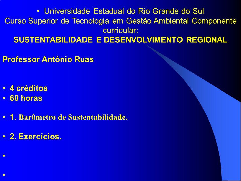 Universidade Estadual do Rio Grande do Sul Curso Superior de Tecnologia em Gestão Ambiental Componente curricular: SUSTENTABILIDADE E DESENVOLVIMENTO