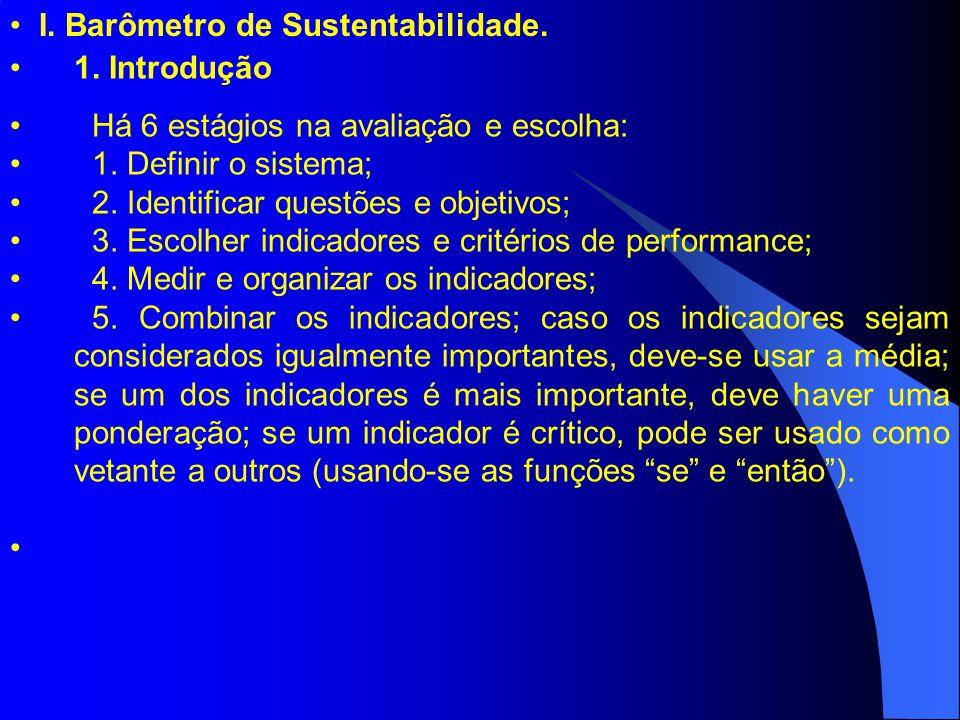 I. Barômetro de Sustentabilidade. 1. Introdução Há 6 estágios na avaliação e escolha: 1. Definir o sistema; 2. Identificar questões e objetivos; 3. Es