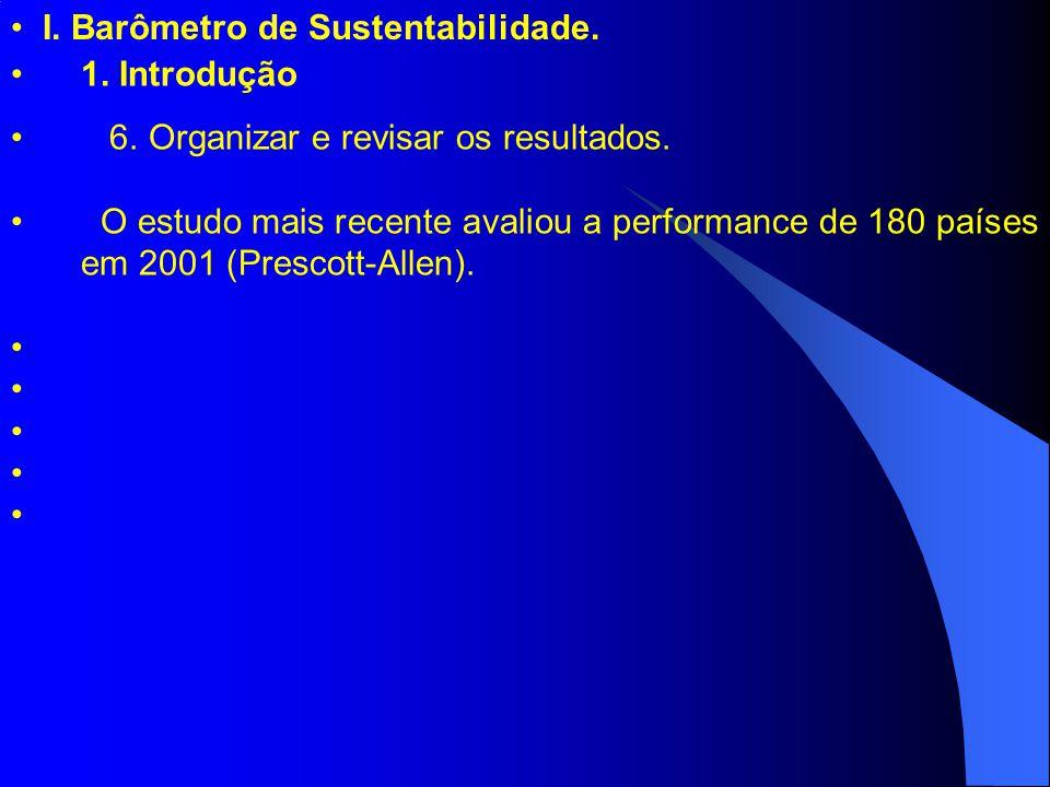 I. Barômetro de Sustentabilidade. 1. Introdução 6. Organizar e revisar os resultados. O estudo mais recente avaliou a performance de 180 países em 200