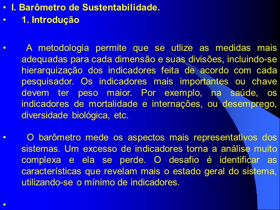 I. Barômetro de Sustentabilidade. 1. Introdução A metodologia permite que se utlize as medidas mais adequadas para cada dimensão e suas divisões, incl
