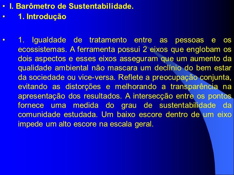 I. Barômetro de Sustentabilidade. 1. Introdução 1. Igualdade de tratamento entre as pessoas e os ecossistemas. A ferramenta possui 2 eixos que engloba