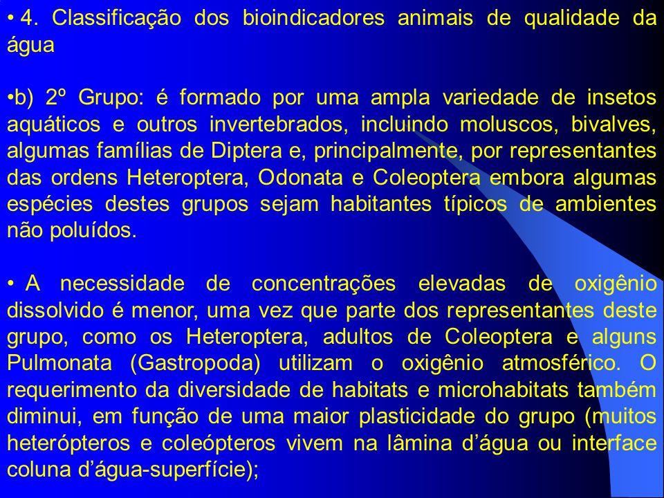 4. Classificação dos bioindicadores animais de qualidade da água b) 2º Grupo: é formado por uma ampla variedade de insetos aquáticos e outros inverteb