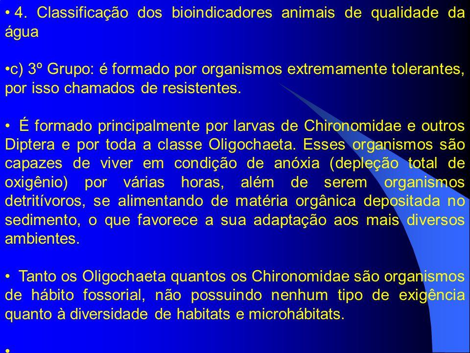 4. Classificação dos bioindicadores animais de qualidade da água c) 3º Grupo: é formado por organismos extremamente tolerantes, por isso chamados de r