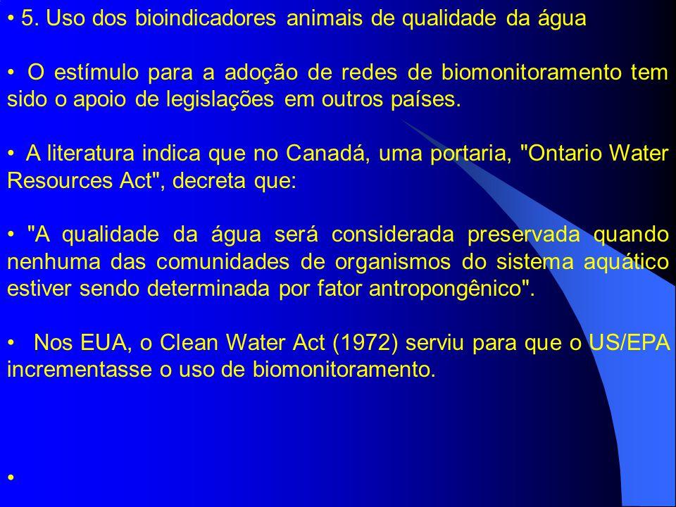 5. Uso dos bioindicadores animais de qualidade da água O estímulo para a adoção de redes de biomonitoramento tem sido o apoio de legislações em outros