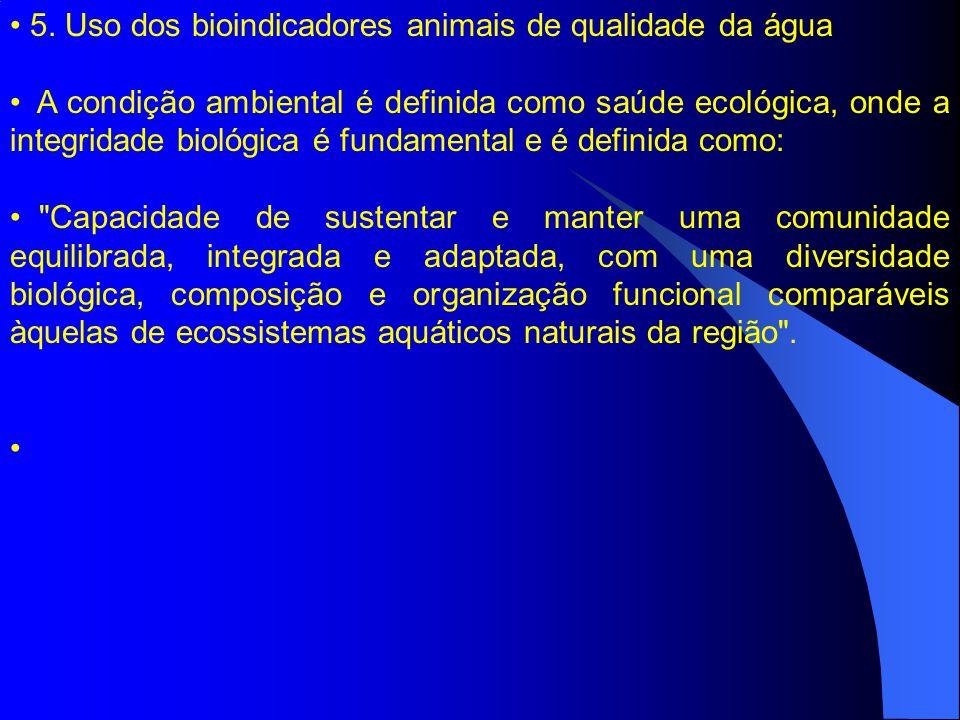 5. Uso dos bioindicadores animais de qualidade da água A condição ambiental é definida como saúde ecológica, onde a integridade biológica é fundamenta