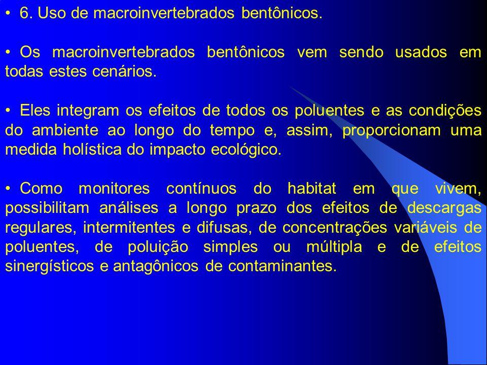 6. Uso de macroinvertebrados bentônicos. Os macroinvertebrados bentônicos vem sendo usados em todas estes cenários. Eles integram os efeitos de todos