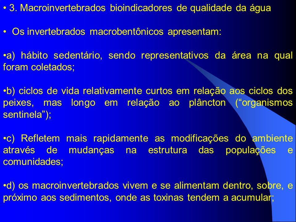 3. Macroinvertebrados bioindicadores de qualidade da água Os invertebrados macrobentônicos apresentam: a) hábito sedentário, sendo representativos da