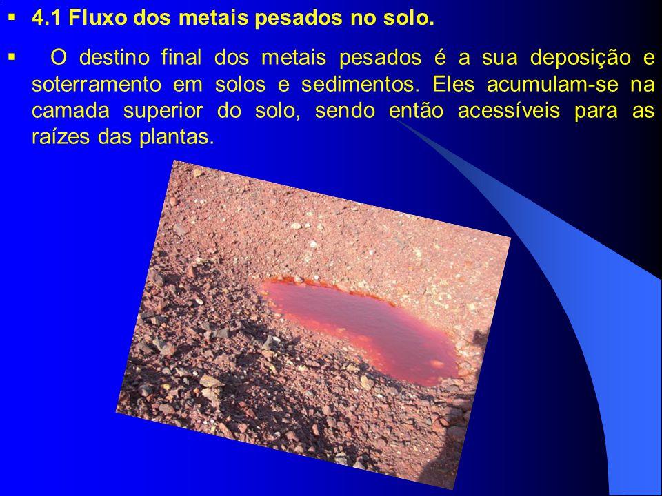 O destino final dos metais pesados é a sua deposição e soterramento em solos e sedimentos.