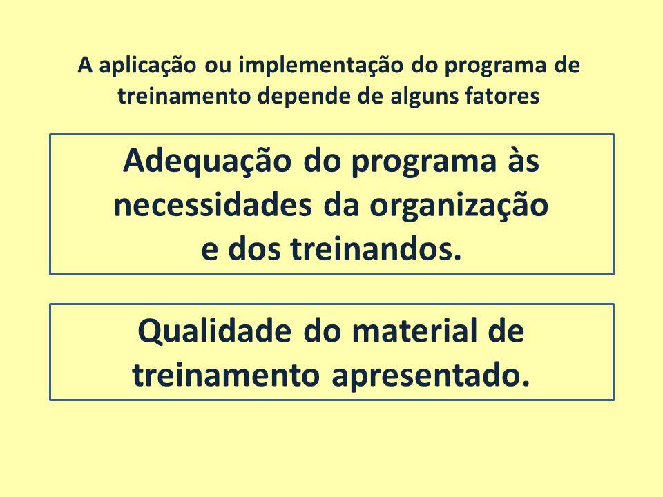 Adequação do programa às necessidades da organização e dos treinandos. A aplicação ou implementação do programa de treinamento depende de alguns fator