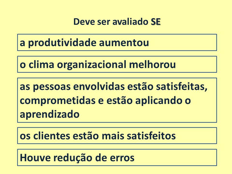 a produtividade aumentou SE Deve ser avaliado SE o clima organizacional melhorou as pessoas envolvidas estão satisfeitas, comprometidas e estão aplica