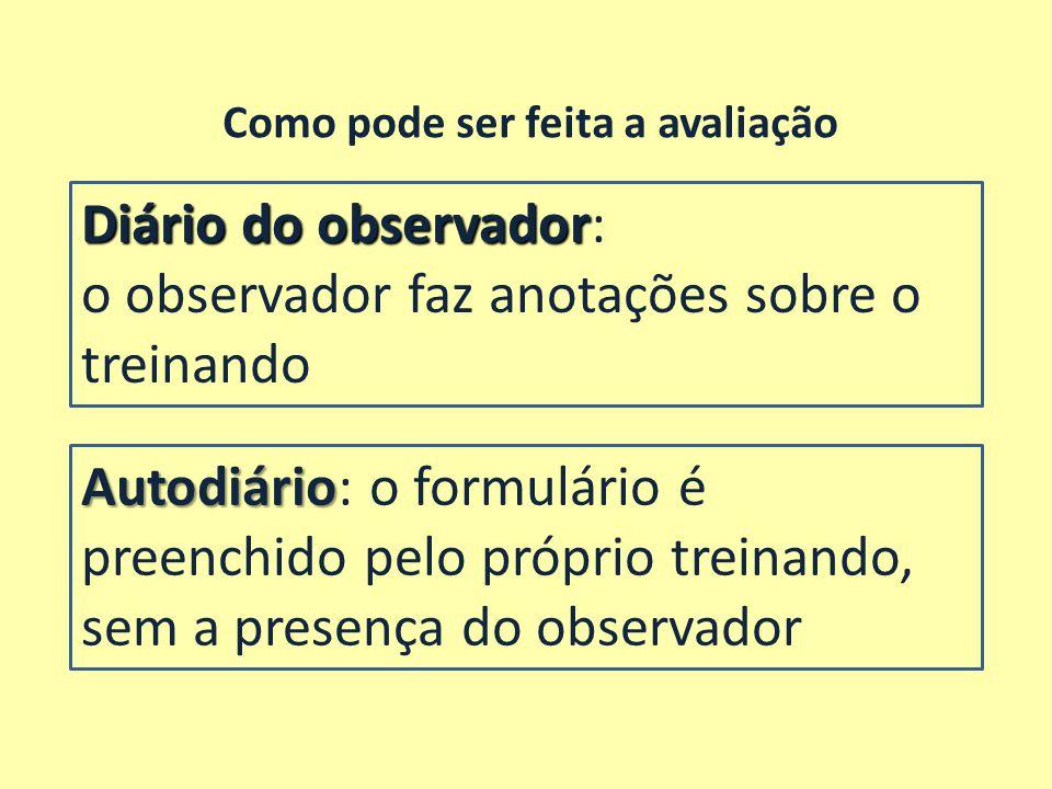 Diário do observador Diário do observador: o observador faz anotações sobre o treinando Como pode ser feita a avaliação Autodiário Autodiário: o formu