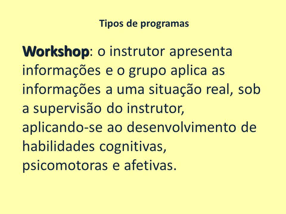 Tipos de programas Workshop Workshop: o instrutor apresenta informações e o grupo aplica as informações a uma situação real, sob a supervisão do instr