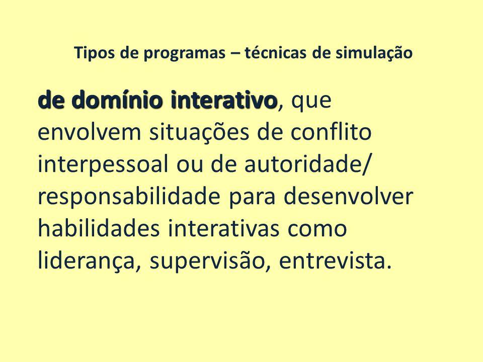 Tipos de programas – técnicas de simulação de domínio interativo de domínio interativo, que envolvem situações de conflito interpessoal ou de autorida