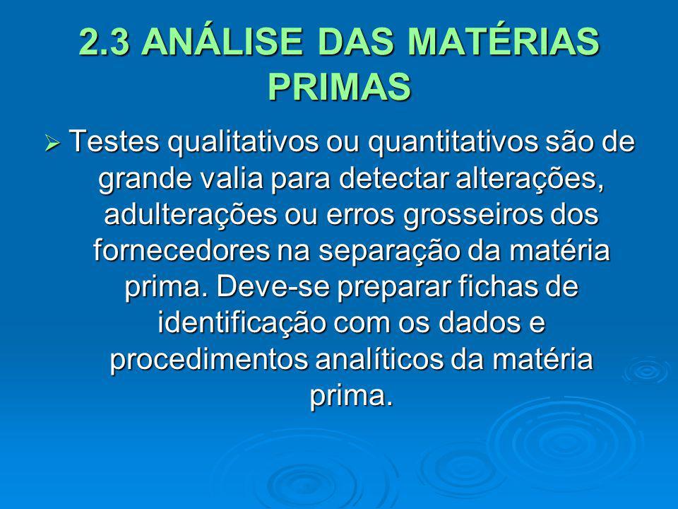 2.3 ANÁLISE DAS MATÉRIAS PRIMAS Testes qualitativos ou quantitativos são de grande valia para detectar alterações, adulterações ou erros grosseiros do