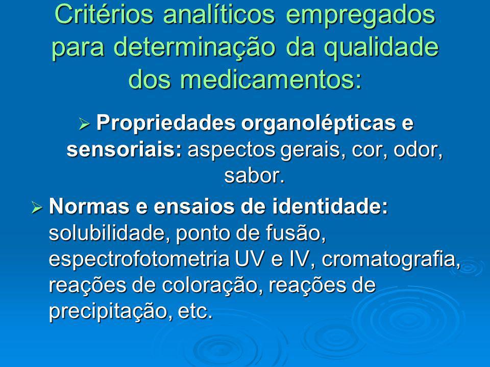 Critérios analíticos empregados para determinação da qualidade dos medicamentos: Propriedades organolépticas e sensoriais: aspectos gerais, cor, odor,