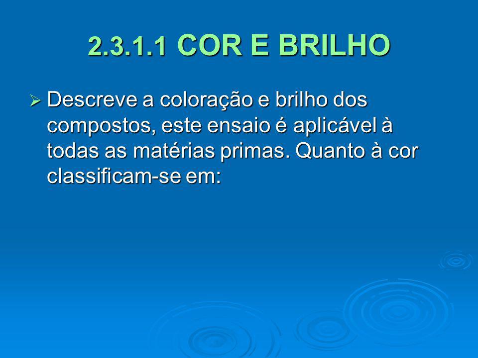 2.3.1.1 COR E BRILHO Descreve a coloração e brilho dos compostos, este ensaio é aplicável à todas as matérias primas. Quanto à cor classificam-se em: