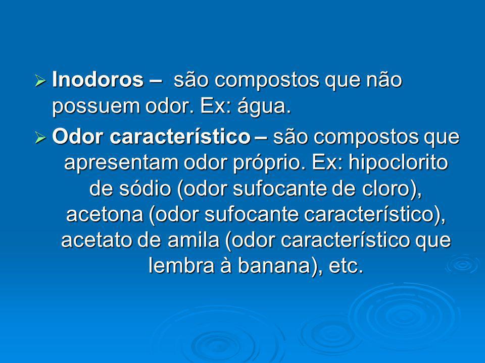 Inodoros – são compostos que não possuem odor. Ex: água. Inodoros – são compostos que não possuem odor. Ex: água. Odor característico – são compostos