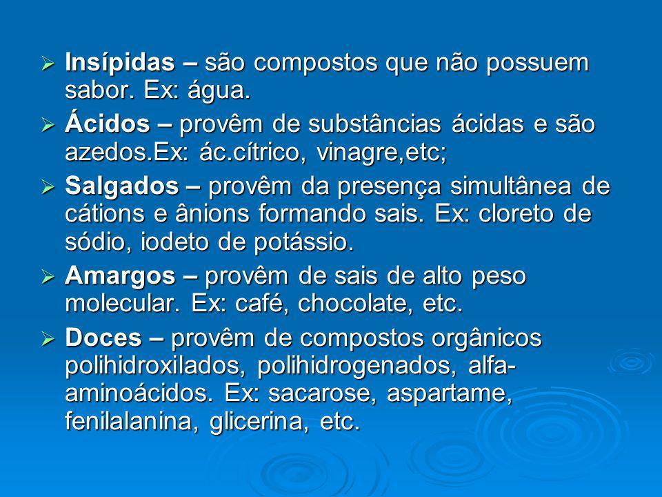 Insípidas – são compostos que não possuem sabor. Ex: água. Insípidas – são compostos que não possuem sabor. Ex: água. Ácidos – provêm de substâncias á