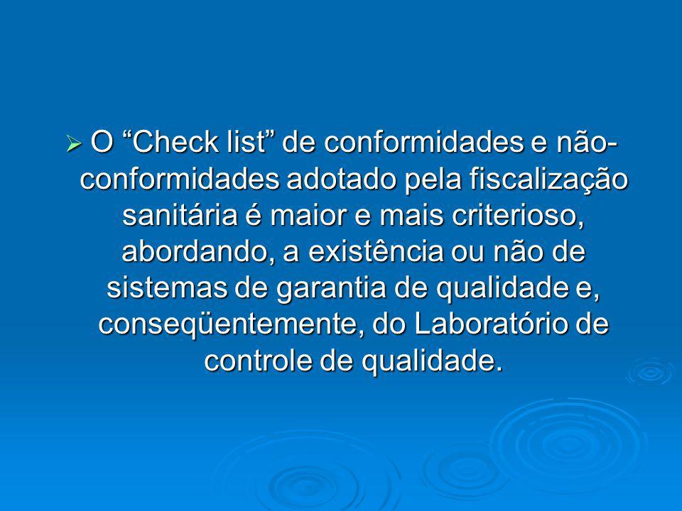 O Check list de conformidades e não- conformidades adotado pela fiscalização sanitária é maior e mais criterioso, abordando, a existência ou não de si