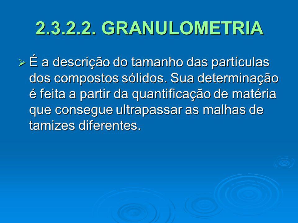 2.3.2.2. GRANULOMETRIA É a descrição do tamanho das partículas dos compostos sólidos. Sua determinação é feita a partir da quantificação de matéria qu