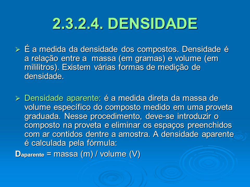 2.3.2.4. DENSIDADE É a medida da densidade dos compostos. Densidade é a relação entre a massa (em gramas) e volume (em mililitros). Existem várias for
