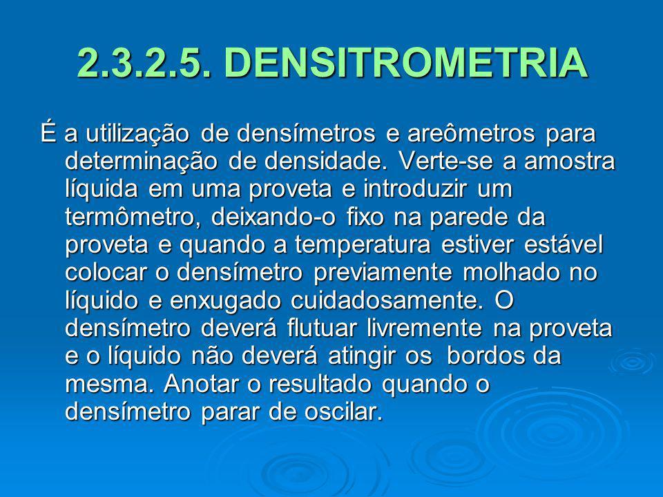 2.3.2.5. DENSITROMETRIA É a utilização de densímetros e areômetros para determinação de densidade. Verte-se a amostra líquida em uma proveta e introdu